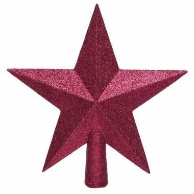 1x bessen roze glitter ster piek kunststof 19 cm