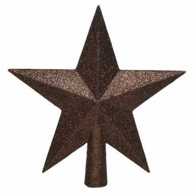 1x donkerbruine glitter ster piek kunststof 19 cm