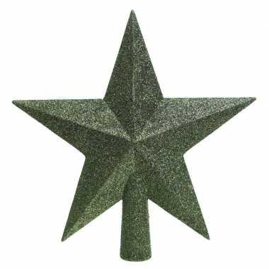 1x donkergroene glitter ster piek kunststof 19 cm
