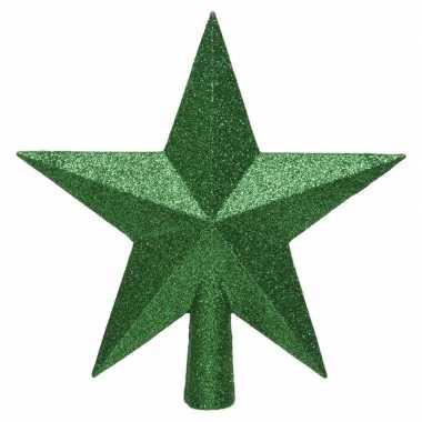 1x kerst groene glitter ster piek kunststof 19 cm