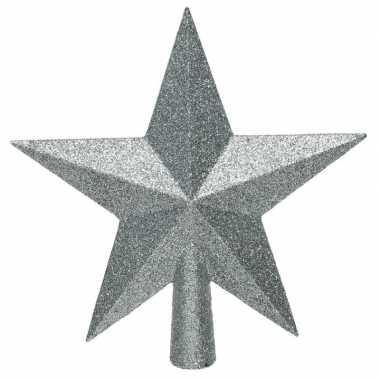 1x lichtblauwe glitter ster piek kunststof 19 cm