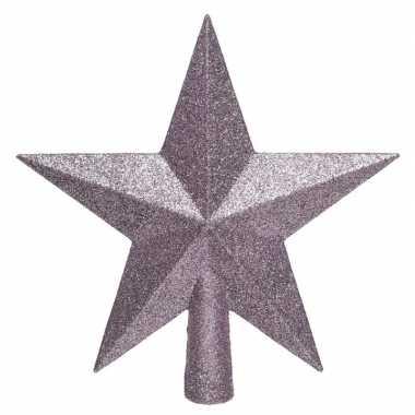 1x lila paarse glitter ster piek kunststof 19 cm