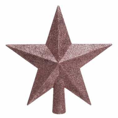1x oud roze glitter ster piek kunststof 19 cm