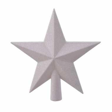 1x parelmoer witte glitter ster piek kunststof 19 cm