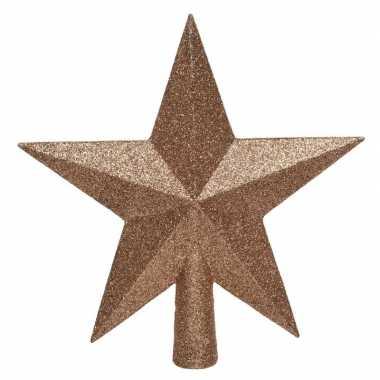 1x zacht terra bruine glitter ster piek kunststof 19 cm