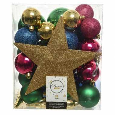 33x kunststof kerstballen goud-blauw-roze-groen inclusief piek