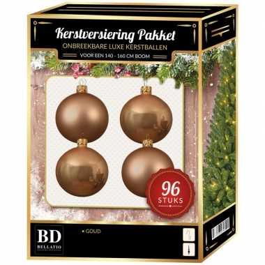 Kerstballen met ster piek set donker parel/champagne voor 180 cm kers