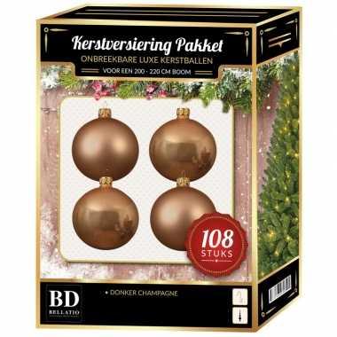 Kerstballen met ster piek set donker parel/champagne voor 210 cm kers