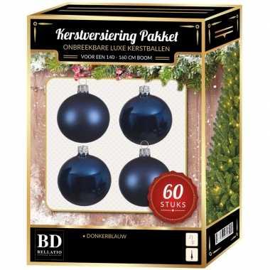 Kerstballen met ster piek set donkerblauw voor 150 cm kerstboom