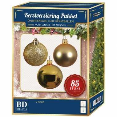 Kerstballen met ster piek set goud voor 180 cm kerstboom