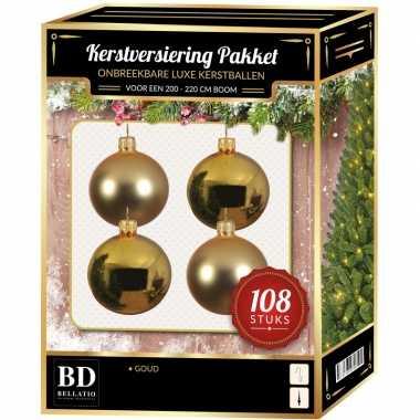 Kerstballen met ster piek set goud voor 210 cm kerstboom