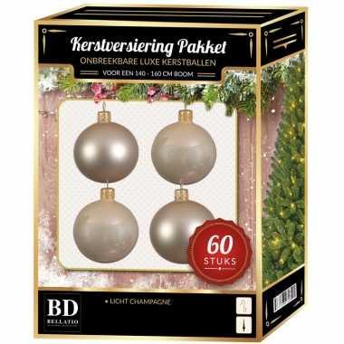 Kerstballen met ster piek set licht parel/champagne voor 150 cm kerstboom