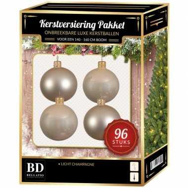 Kerstballen met ster piek set licht parel/champagne voor 180 cm kerstboom
