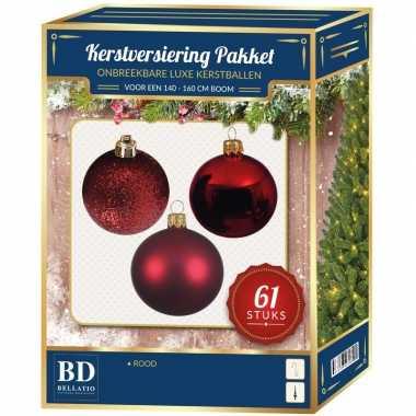 Kerstballen met ster piek set rood voor 150 cm kerstboom
