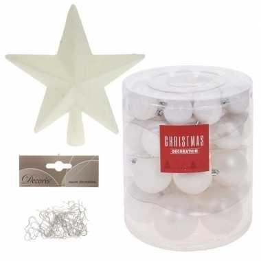 Kerstballen met ster piek set wit voor 120 cm kerstboom