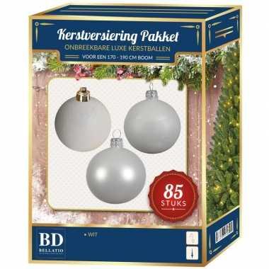 Kerstballen met ster piek set wit voor 180 cm kerstboom