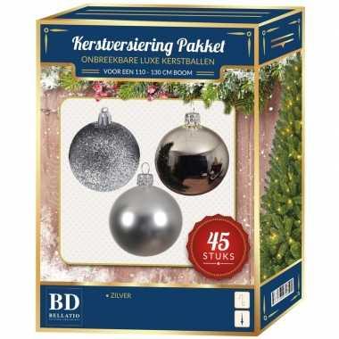 Kerstballen met ster piek set zilver voor 120 cm kerstboom