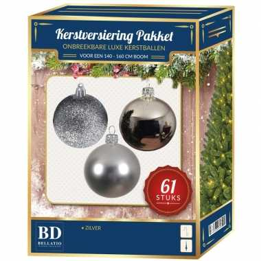 Kerstballen met ster piek set zilver voor 150 cm kerstboom