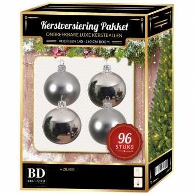 Kerstballen met ster piek set zilver voor 180 cm kerstboom