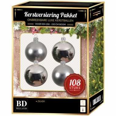 Kerstballen met ster piek set zilver voor 210 cm kerstboom