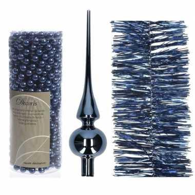 Kerstboom optuigen set donkerblauw glazen piek, 1x kralenslinger, 1x folieslinger
