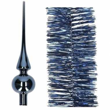Kerstboom optuigen set donkerblauw glazen piek en 3x kerstslingers 270 cm