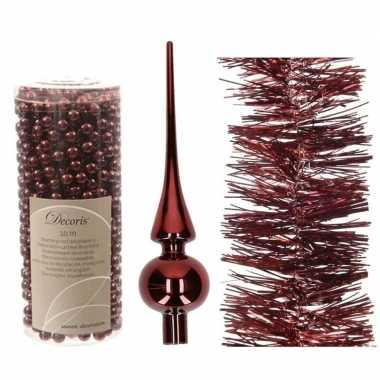 Kerstboom optuigen set donkerrood glazen piek, 1x kralenslinger, 1x f