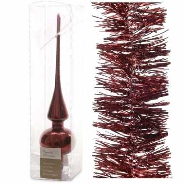 Kerstboom optuigen set donkerrood glazen piek en 3x kerstslingers 270