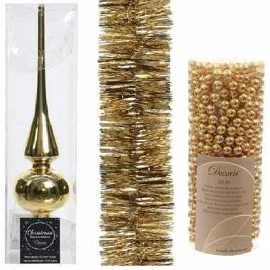 Kerstboom optuigen set goud glazen piek, 1x kralenslinger, 1x folieslinger