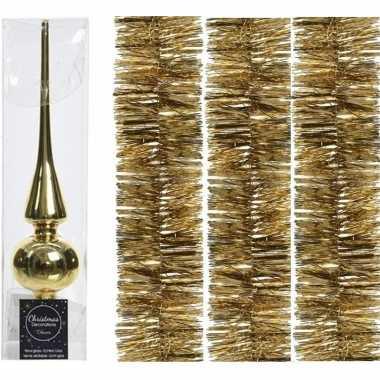 Kerstboom optuigen set goud glazen piek en 3x kerstslingers 270 cm