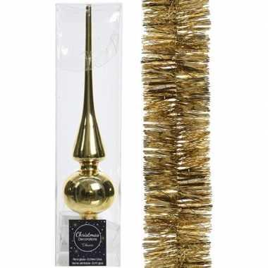 Kerstboom optuigen set goud glazen piek en kerstslinger 270 cm