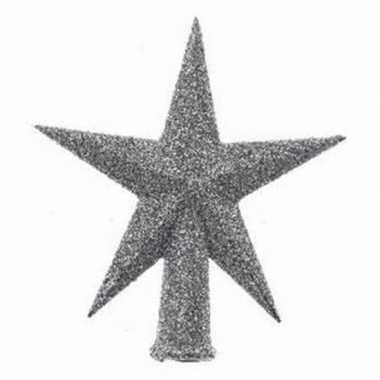 Mini piek zilver met glitters 12 cm