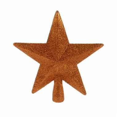 Oranje kerstboom piek met glitters