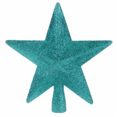 Turquoise kerstboom piek met glitters