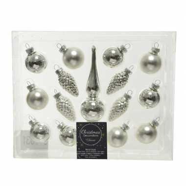 Zilveren glazen kerstballen en piek set voor mini kerstboom 15-dlg