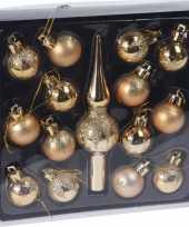 15x gouden kerstballen en piek 3 cm glanzende matte glitters kunststof kerstversiering