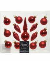 Kerst rode glazen kerstballen en piek set voor mini kerstboom 15 dlg