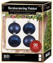 Kerstballen met ster piek set donkerblauw voor 180 cm kerstboom