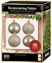Kerstballen met ster piek set licht parel champagne voor 180 cm kerstboom