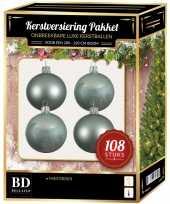 Kerstballen met ster piek set mintgroen voor 210 cm kerstboom
