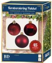 Kerstballen met ster piek set rood voor 120 cm kerstboom