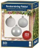 Kerstballen met ster piek set wit voor 210 cm kerstboom
