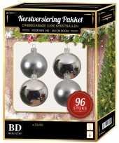 Kerstballen met ster piek set zilver voor 180 cm kerstboom 10158148