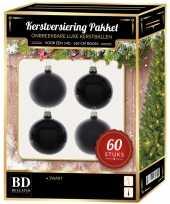 Kerstballen met ster piek set zwart voor 150 cm kerstboom