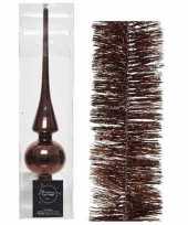 Kerstboom optuigen set bruin glazen piek en 3x kerstslingers 270 cm
