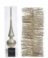 Kerstboom optuigen set champagne glazen piek en 3x kerstslingers 270 cm