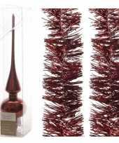 Kerstboom optuigen set donkerrood glazen piek en 2x kerstslingers 270 cm