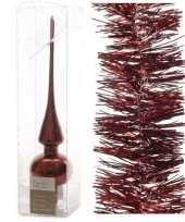 Kerstboom optuigen set donkerrood glazen piek en 3x kerstslingers 270 cm