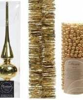Kerstboom optuigen set goud glazen piek 1x kralenslinger 1x folieslinger