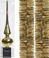 Kerstboom optuigen set goud glazen piek en 2x kerstslingers 270 cm